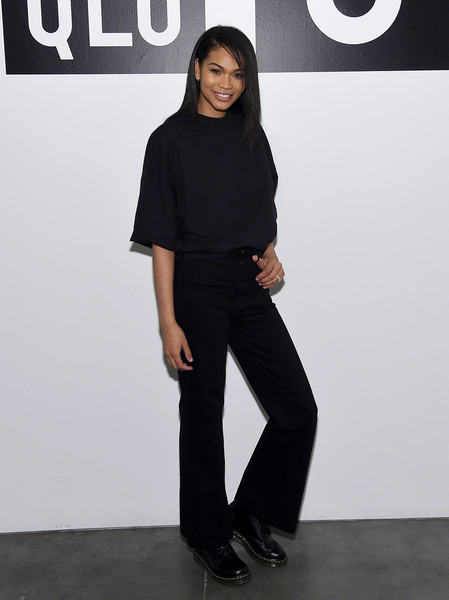 Chanel Iman Combat Boots [clothing,black,shoulder,fashion,neck,footwear,waist,leg,joint,sleeve,summer 2019,chanel iman,collection,new york city,studio 525,chanel iman attends uniqlo press,uniqlo,chanel iman celebrate uniqlo spring,event]