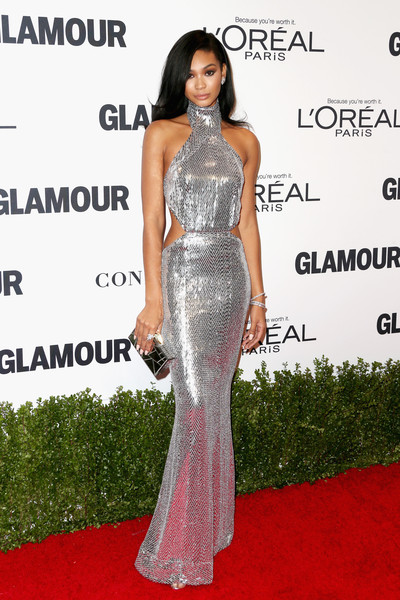 Chanel Iman Cutout Dress [dress,clothing,fashion model,shoulder,gown,carpet,red carpet,fashion,hairstyle,flooring,arrivals,chanel iman,neuehouse hollywood,los angeles,california,glamour women of the year]
