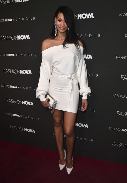 Chanel Iman Pumps [white,clothing,shoulder,fashion model,cocktail dress,dress,joint,fashion,leg,footwear,arrivals,chanel iman,california,hollywood,fashion nova,cardi b collaboration,launch event,cardi b collaboration launch event]