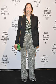 An oversized blazer broke up the mixed prints in Enrica Ponzellini's outfit.