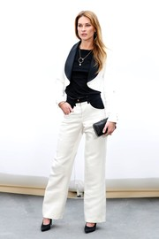Erin Wasson looked smart in a black-and-white pantsuit at the Chanel fashion show.