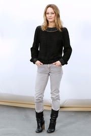 Vanessa Paradis was casual in a perforated black Chanel sweater and gray jeans during the label's fashion show.