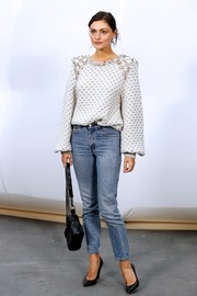 Phoebe Tonkin kept it relaxed on the bottom half with a pair of jeans.