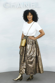 Tracee Ellis Ross added extra shine with a gold cross-body bag.