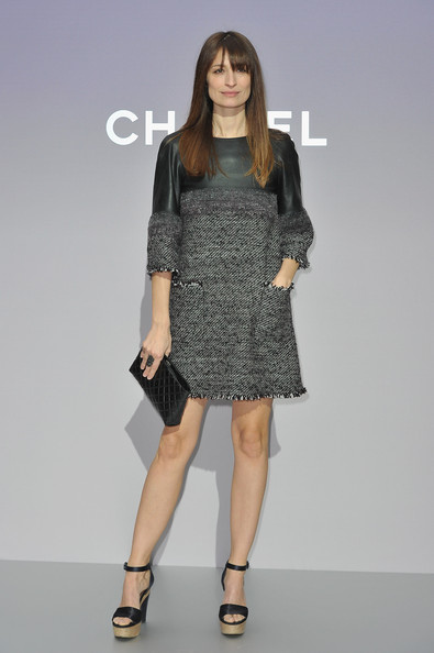 Caroline De Maigret wore this leather and tweed shift dress for the Chanel photocall in Paris.