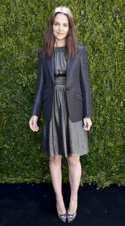 Katie Holmes topped off her dress with a black blazer, also by Emanuel Ungaro.