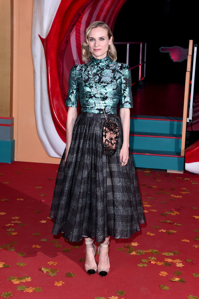 More Pics of Diane Kruger Pumps (4 of 7) - Heels Lookbook - StyleBistro [it chapter two,clothing,carpet,red carpet,red,flooring,fashion,dress,premiere,design,event,vip arrivals,diane kruger,european,england,london,the vaults,premiere,it chapter two european premiere]