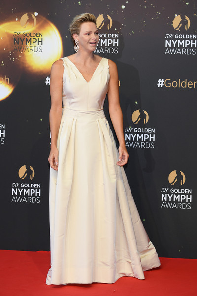 Charlene Wittstock Evening Dress [dress,clothing,red carpet,gown,shoulder,carpet,fashion,a-line,flooring,hairstyle,charlene of monaco,awards,golden nymph,monte-carlo,monaco,closing ceremony,monte carlo tv festival,closing ceremony]