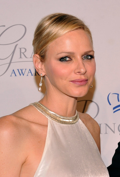 Charlene Wittstock Side Parted Straight Cut [hair,hairstyle,blond,eyebrow,shoulder,beauty,chin,lip,eyelash,long hair,arrivals,charlene of monaco,princess grace,awards,new york city,cipriani 42nd street,princess grace awards,gala]