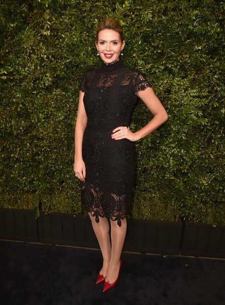Carly Steel attended the Charles Finch and Chanel pre-Oscar dinner looking classic in her little black lace dress.