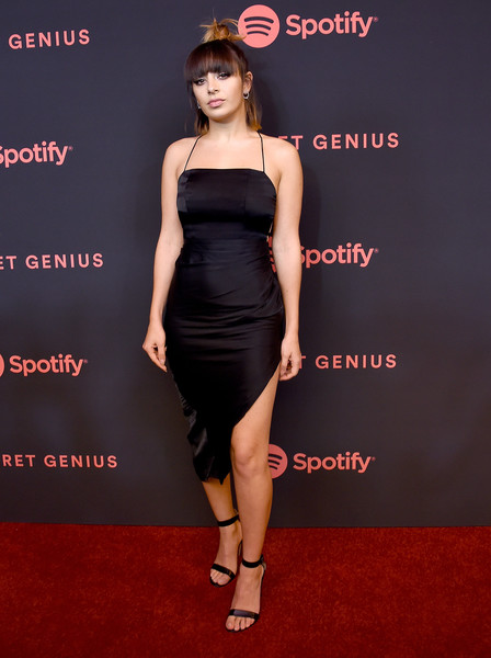 Charli XCX Strappy Sandals [dress,clothing,fashion model,cocktail dress,shoulder,carpet,strapless dress,little black dress,fashion,premiere,spotify,arrivals,charli xcx,the theatre,california,los angeles,ace hotel,2nd annual secret genius awards]