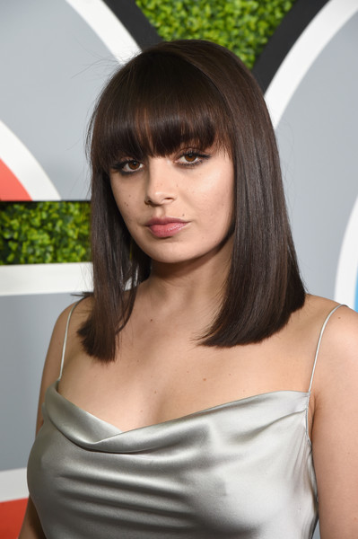 Charli XCX Medium Straight Cut with Bangs [photo,hair,hairstyle,bangs,shoulder,layered hair,long hair,brown hair,beauty,black hair,lady,arrivals,charli xcx,caption,chateau marmont,california,los angeles,gq men of the year party,party,gq men of the year]