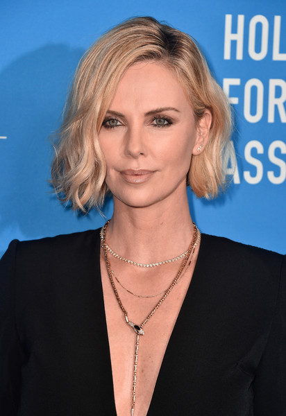 Charlize Theron Layered Gold Necklace