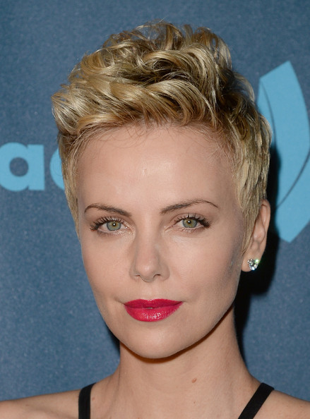 Charlize Theron Fauxhawk [hair,face,hairstyle,chin,eyebrow,blond,lip,forehead,head,beauty,charlize theron,glaad media awards,los angeles,backstage,l.a. live,california,jw marriott,wells fargo,ketel one]