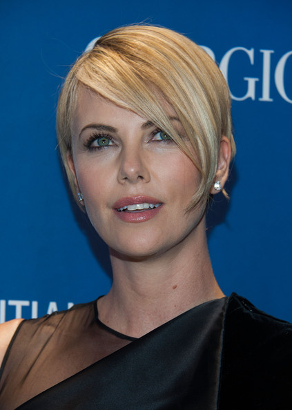 Charlize Theron Side Parted Straight Cut