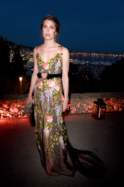 Charlotte Casiraghi Embroidered Dress [kering and cannes festival official dinner : cocktail at the 70th cannes film festival,fashion model,dress,beauty,model,lady,cocktail dress,photo shoot,gown,girl,shoulder,women in motion awards dinner,charlotte casiraghi,place de la castre,cannes,france,cannes film festival]