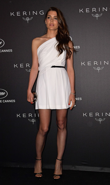 Charlotte Casiraghi One Shoulder Dress [kering women in motion awards,charlotte casiraghi,clothing,dress,fashion model,shoulder,cocktail dress,joint,fashion,leg,footwear,long hair,annual cannes film festival,cannes,france]