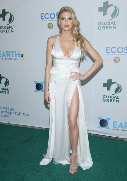 Charlotte McKinney Halter Dress [red carpet,shoulder,clothing,carpet,dress,hairstyle,joint,fashion,gown,blond,arrivals,charlotte mckinney,los angeles,california,global green pre-oscar gala]
