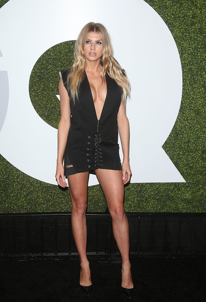 Charlotte McKinney Little Black Dress [clothing,fashion,leg,blond,thigh,dress,little black dress,carpet,cocktail dress,long hair,arrivals,gq men of the year party,charlotte mckinney,model,california,los angeles,chateau marmont,gq men of the year party]