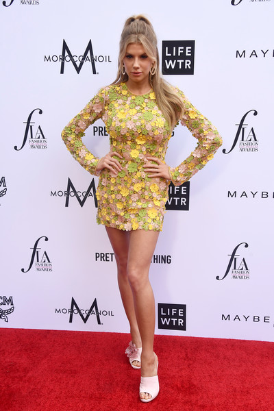 Charlotte McKinney Mini Dress [clothing,fashion model,dress,cocktail dress,red carpet,yellow,shoulder,carpet,footwear,hairstyle,arrivals,charlotte mckinney,beverly hills hotel,california,daily front row,4th annual fashion los angeles awards]