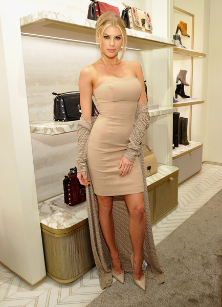 Charlotte McKinney Strapless Dress [jimmy choo,association with cindy crawford,katharina harf host,katharina harf,cindy crawford,charlotte mckinney,blood cancer,support,association,model,clothing,dress,white,shoulder,blond,lady,cocktail dress,beauty,hairstyle,leg]