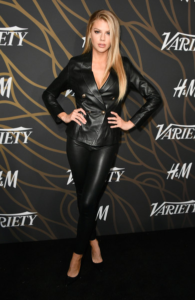 Charlotte McKinney Pantsuit [clothing,leather,latex clothing,footwear,leggings,textile,leg,jacket,suit,dress,charlotte mckinney,variety power of young hollywood - arrivals,tao hollywood,los angeles,california]