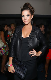 Erin sported a cropped leather jacket for the Charlotte Ronson fashion show.
