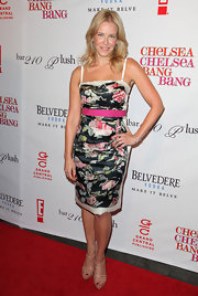 Chelsea Handler showed off her floral print dress which she paired with nude sandals.