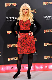 Christina went lacy at the 'Burlesque' photo call in Madrid.