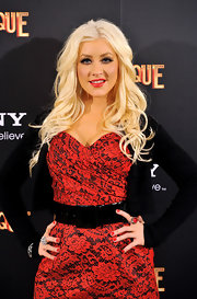 Christina belted this lacy look with a thick black patent belt.