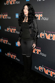 Cher showed off her ageless physique in a fitted black top and matching leggings at the Broadway opening of 'The Cher Show.'