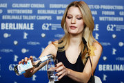Ashley Hinshaw attended a press conference for 'Cherry' wearing a deep burgundy nail polish.