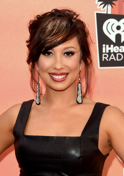 Cheryl Burke Messy Updo [hair,face,hairstyle,chin,beauty,shoulder,brown hair,lip,black hair,smile,arrivals,cheryl burke,iheartradio music awards,the shrine auditorium,los angeles,california,nbc]