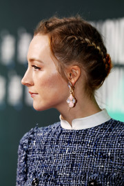 Saoirse Ronan wore a classic and romantic French braid at the European premiere of 'On Chesil Beach.'