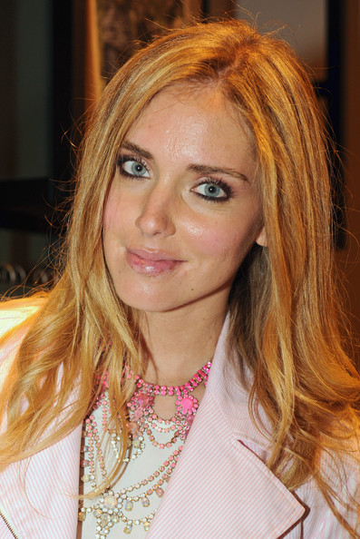 Chiara Ferragni Gemstone Chandelier Necklace [promise collection,hair,face,blond,hairstyle,eyebrow,hair coloring,brown hair,beauty,lip,layered hair,tommy hilfiger,chiara ferragni,milan,italy,milan design week]