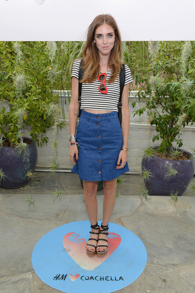 Chiara Ferragni Denim Skirt [clothing,denim,blue,jeans,fashion,footwear,shoulder,t-shirt,crop top,electric blue,chiara ferragni,parker palm springs,california,h m,coachella party]