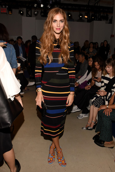 Chiara Ferragni Sweater Dress [shows,the shows,fashion model,fashion show,fashion,runway,clothing,fashion design,event,haute couture,dress,footwear,derek lam,chiara ferragni,front row,skylight,new york city,clarkson sq,the gallery,new york fashion week]
