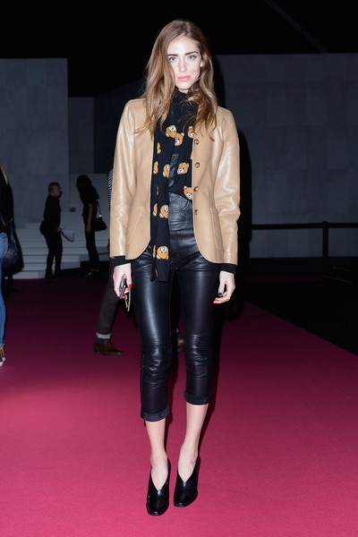 Chiara Ferragni Pumps [show,clothing,fashion,fashion show,fashion model,leather,street fashion,jacket,footwear,outerwear,blond,chiara ferragni,front row,mfw fw2015,milan,italy,dsquared2,milan fashion week autumn]
