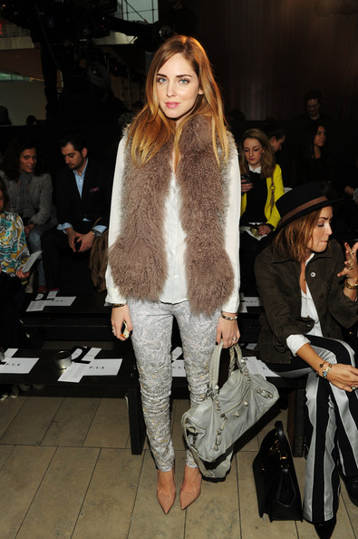 Chiara Ferragni Print Pants [fashion show,fashion,fashion model,clothing,fur,street fashion,fur clothing,outerwear,footwear,event,dl,chiara ferragni,denim,front row,alice tully hall,new york city,mercedes-benz fashion week,fashion show]