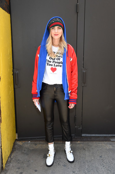 Chiara Ferragni Hoodie [chiara ferragni,marc jacobs,arrivals,red,blue,footwear,clothing,jeans,cap,fashion,fashion accessory,headgear,standing,marc jacobs fall 2017 show,new york city,park avenue armory]