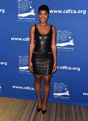 Keke Palmer hit the Beat the Odds Awards wearing a Moschino quilted leather-look LBD with chain embellishments.