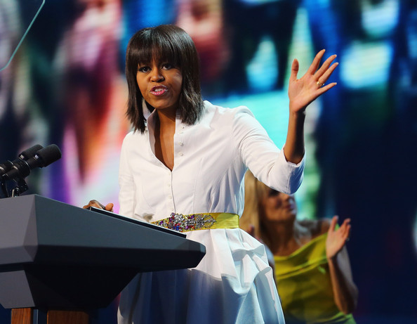 More Pics of Michelle Obama Medium Straight Cut with Bangs (6 of 15) - Shoulder Length Hairstyles Lookbook - StyleBistro
