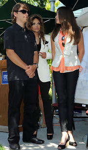 Paris Jackson paired comfy-looking wedges with her outfit for the Michael Jackson artwork donation ceremony.