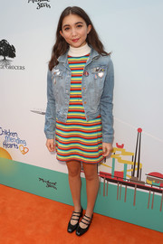 Rowan Blanchard kept it youthful in a rainbow-striped turtleneck sweater dress at the Empathy Rocks event.