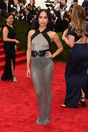 Zoe Kravitz was edgy-sexy in a sheer chainmail-like gray and black Alexander Wang gown at the Met Gala.