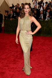 Kate Beckinsale opted for a relatively low-key look with this gold Diane von Furstenberg gown at the Met Gala.