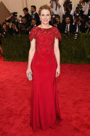 Marissa Mayer looked regal at the Met Gala in an embroidered red Peter Copping for Oscar de la Renta gown.