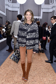 Helena Bordon attended the Chloe fashion show wearing a thick monochrome cardigan from the brand.