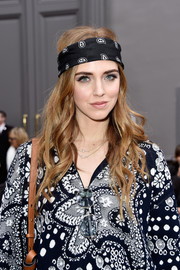 Chiara Ferragni coordinated her dress with a paisley-print headband for the Chloe Fall 2016 show.
