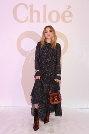 Florence Pugh was a boho babe in a printed maxi dress at the Chloe Fall 2019 show.